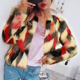 Женщины Элегантный Меховые Пальто Красочные Искусственного Меха Пальто Многоцветный С Длинным Рукавом Без Воротника Повседневная Женщина Зима Меховые Пальто от
