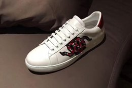 Wholesale Open Toe Shoes For Women - Low Top Black And White Leather Men Women G Casual Shoes 20178 New Designer Fashion Snake Embroidery for Love Sneakers.