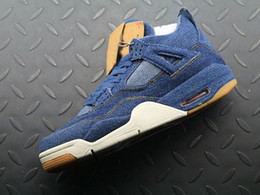Wholesale High Quality Denim Jeans - High Quality 4 Denim Jeans Travis Jean Men IV 4S Basketball Shoes Blue Sports Sneakers Trainers