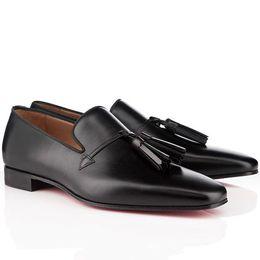 Wholesale wedding brand names - High Quality Brand Name Dandelion Tassel Sneaker Unisex Men Women Red Bottom Oxford Shoes Slip On Male Leisure Flat Genuine Leather Shoes