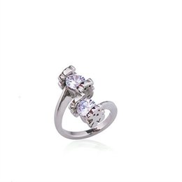Wholesale Precious China - Trendy bears stainless steel and white crystal ring silver plated precious style good quality osos Anillo de senoras 1pcs drop shipping