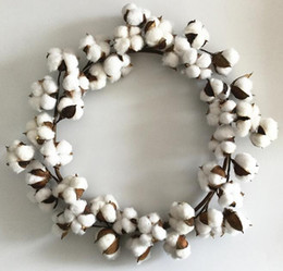 christmas wreaths for door Coupons - Christmas Dry Cotton Wreath Door Ring Christmas Decoration Artificial Cotton Wreath for Holiday and Wedding Home Decoration