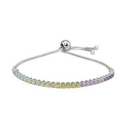 Многожильные браслеты серебряные онлайн-Sparkling Strand Bracelets with Multi-Color CZ 100% 925 Sterling Silver Fine Jewelry For Women Wholesales Free Shipping