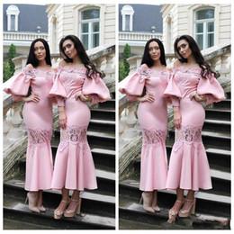 2019 le signore partono camicie maniche 2018 Custom Slim Juliet Sleeves Tea-lunghezza rosa abiti da damigella d'onore Appliques in pizzo abiti da ballo da ballo formale Short Maid of Honor Abbigliamento donna sconti le signore partono camicie maniche