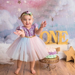 Wholesale Tutu Puff - New 2018 Summer unicorn Girls Dresses sequin Girls Baby Dresses Toddler Princess Dresses kids Party Dress baby clothes girl clothes A1651