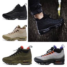 Wholesale Mid Running Shoes - Air 95 Anniversary MID Men Shoes 2018 new Air 95 Sneaker boot black Army green running shoes Training Sneakers sport shoes us 7-12