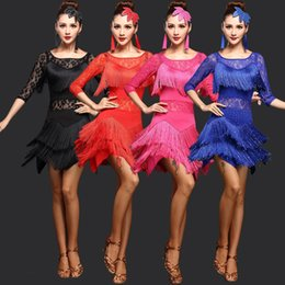 Wholesale Latin Dance Competition Dress Black - Women Competition Dance Clothes Sequins Costume Set with Sleeves Fringe Salsa Sequins Dresses Latin Ballroom Dance Dress 2 Style
