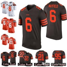 Marrones camiseta 73 online-Cleveland Browns jersey 6 Baker Mayfield 21 Denzel Ward Jersey 31 Nick Chubb 73 Joe Thomas 5 Tyrod Taylor 80 Jarvis Landry Garrett Jerseys