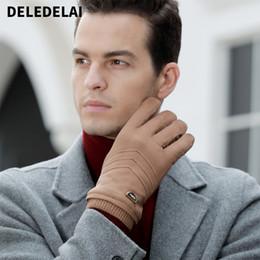 forro de canada Rebajas DELEDELAI invierno hombre cálido guantes de pantalla táctil moda dedo completo nuevo arrivel guantes gruesos suaves mitones