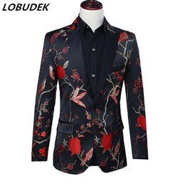 2020 abrigo formal de estilo de los hombres Traje de estilo chino Chaquetas de los hombres Formal Blazers Bar Anfitrión de la etapa Traje cantante masculino Coro rendimiento ropa de abrigo abrigo formal de estilo de los hombres baratos