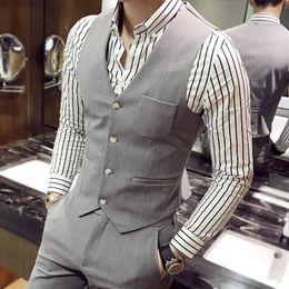 Wholesale Best High Quality Wedding Dresses - Wholesale- high-quality goods cotton Fashion pure color the bridegroom's best Man wedding dress waistcoat Men's formal business su
