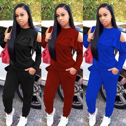 Wholesale Winter Running Shirts - Ladies Winter Casual Two-piece Outfits Jogger Set Long Sleeved Open Shoulder Tops Shirt Jogger Set Sweat Suits + Long Pant Womens Sweatsuits