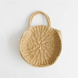 Wholesale Ladies Summer Bags - Handmade Rattan woven Round Handbag Vintage Retro Straw Knitted Messenger Bag Lady Fresh Handbag Summer Beach Tote khaki beige