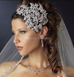 2019 corona india de cristal Lujo de moda de cristal Rhinestone boda BridalSilver Queen diademas Tiara casco princesa accesorios para el cabello desfile fiesta de la joyería fiesta F