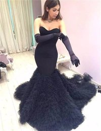 Wholesale Engagement Dress Gown - Sexy Mermaid Black Prom Dresses 2018 Strapless Long Pageant Gowns Custom Made Women Evening Dress Formal Engagement Dresses