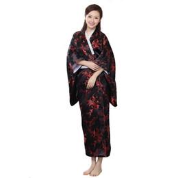 cb191bca8b New Arrival Black Red Traditional Yukata Japanese Women s Silk Kimono With  Obi Vintage Performance Dance Dress One size WK009