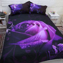 Wholesale Purple Rose Quilt Cover Set - Rose Duvet Quilt Doona Cover Set Single Queen King Size Bed Pillowcase Linen New Free Shipping