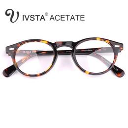Wholesale blue prescription glasses - IVSTA Oliver Peoples OV5186 Handmade Real Acetate Frames Cat Eye Glasses Gregory Peck Round Women Optical Demi Prescription Tortoise CE FDA