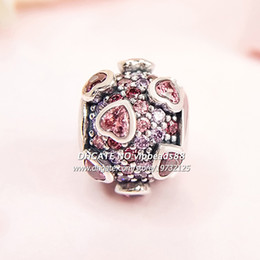 Wholesale Millefiori Glass Heart Beads - 2018 Valentine Day S925 Sterling Silver Explosion of Love Multi-Colored CZ Charm beads For Pandora Bracelets Pendant Beads & Jewelry Making