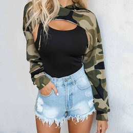 Wholesale Camo Hoodie Sweatshirt - UK Sweatshirts Womens Crop Hoodie Long Sleeve Top Jumper Hooded Pullover Casual Sweatshirt Camo Tops