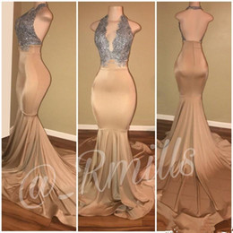 Wholesale Backless Halter Plunge Dress - 2018 Silver and Champagne Prom Dresses Halter Plunging V neck Mermaid Backless Long Evening Gowns With Lace Applique Party Dress