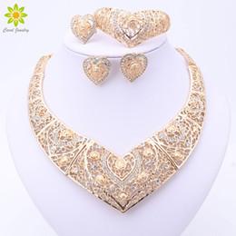 anillo de jade indio Rebajas Venta de toda la moda Conjuntos nupciales de la joyería de fantasía nupcial Dubai Color oro indio en forma de corazón Collar Pendientes Conjuntos de anillo para las mujeres