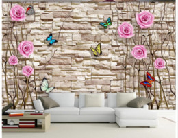 Cubrir azulejos online-Papel tapiz 3D Papel tapiz fotográfico 3D de alta calidad Tronco estereoscópico Rosa Mariposa Cultura Azulejo de la pared Decoración para el hogar Salón de la pared
