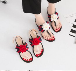Wholesale gladiator style dresses - summer New Women's shoes Rose flower European style Word buckle Thick with Soft bottom Comfortable fashion Women's shoes