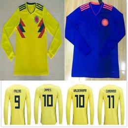 10819eb05fe where to buy 2018 colombia long sleeve soccer jersey 10 james 9 falcao 11  cuadrado 8
