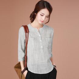 b8a2ec714c Camisa de algodón puro Mujer 2018 Verano Nuevas blusas y blusas para mujer  Blusa de siete partes Manga Leisure Lattice Elegance Ethnic blusas étnicas  outlet