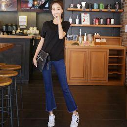 50cfb8f1fc0 2019 pantalon coupe-bottes femme jean Femmes Printemps Bleu Foncé Jeans  Denim Pantalon Taille Haute