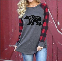 Wholesale T Shirt Printing Ladies - Women letter print T-Shirts Plaid Sleeve Tees Mama bear Printing Ladies Pullover Maternity Tops T Shirts KKA4083