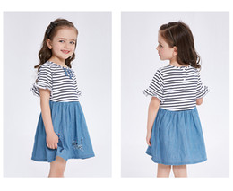 Wholesale Demin Top - Summer Girls Dresses Srtiped Top Demin Cat Appliqued Flare Sleeves Contrast Princess Dress Baby Girl Clothes