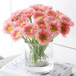 Wholesale Artificial Sun Flowers - 6cm Head Artificial Gerbera Daisy Flower Sun flowers Bouquet for Home Decoration Wedding Party & Birthday GA204