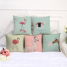 linen giraffe cushion cover Coupons - Flamingo Sheep Giraffe pillow case animal Pillowcover Cotton Linen Ethnic car Pillow Cover Bedroom sofa Throw Cushion drop shipping