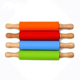 Épingles sûres en Ligne-Creative Safe Silica Gel Rouleau De Pâte Chunky Manche En Bois Mini Broches À Rouler Soft Silicone Dumpling Stick Cuisine Outils 6 66as B