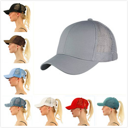 Wholesale Ms Spring - 2018 The Latest European and American Personality Ponytail Baseball Cap C Hat Adjustable Shade Wind Ms. Cap 13 Color