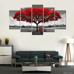 Wholesale Wooden Tree Decor - Amosi Art-5 Panels Red Tree Canvas Painting Flowers Wall Art Landscape Artwork Print on Canvas For Home Decor Wooden Framed Ready to Hang