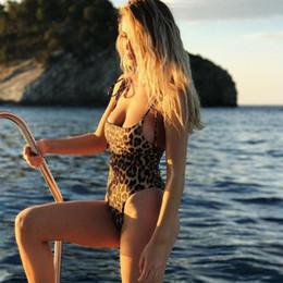 Wholesale Leopard Swimsuit One Piece - 2018 New Sexy Leopard Print Swimwear Halter One Piece Push Up Swimsuit Bandage Bathing Suit Women Bodysuit Beach Wear Monokini