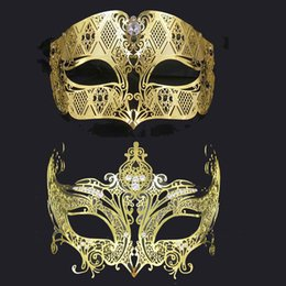 Wholesale Couples Masquerade Masks - 1 Set Black Gold Silver Phantom Rhinestone Crown Adult Wedding Venetian Masquerade Couple Mask Metal Costume Prom Party Mask Lot