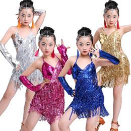 bambino bambino bambini professionale vestito da ballo latino per ragazze  ballo abiti da ballo per bambini rosso paillettes frangia salsa nappa 8341a9157ca