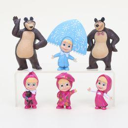 Wholesale Bear Toy Box - No Box 6pcs set 6-9cm Cartoon Masha and The Bear PVC Figurals Collection M Toys Kids Children's Christmas Gifts
