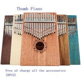 Instrumentos de dedo online-10keys / 17keys Sonidos Kalimba Likembe Finger Thumb Piano Teclado portátil Instrumentos musicales Finger Thumb Piano para principiantes