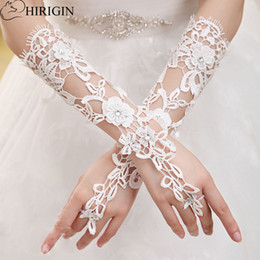 Wholesale Long Costume Gloves - HIRIGIN Princess Women White Lace Floral Printed Fingerless Gloves Party Costume Long Gloves Accessories