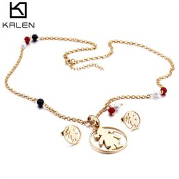 Wholesale pink indian style earrings - KALEN Pendant Necklace & Earrings Lady Women Girl Baby Style Jewelry Set Silver Gold Rose Gold Link Chain Stainless Steel