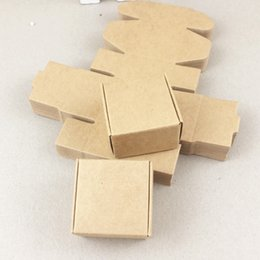 Wholesale Handmade Package - 50pcs lot 4*4*2.5cm Brown Gift Packaging Kraft Paper Box For Jewelry\Wedding\Candy\Crafts\Cake\Handmade Soap Packing boxes