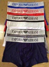 Wholesale Boxer Underwears - Famous brand ARMN Men's Underwear Boxers Breathable Cotton Underpants Tight Letter Pattern Design Solid Color Underwears For Men