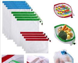 100 unids Reutilizable Produce Bags Black Rope Mesh Vegetable Fruit Toys Bolsa de almacenamiento Durable mesh poliéster fuerte peso ligero G260 desde fabricantes