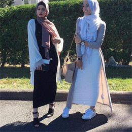 Wholesale Long White Straight Skirt - 2018 Newest Long Ankle Length Quality Pencil Style 6 Colors Muslim Maxi Skirt