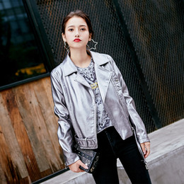 Wholesale leather jacket sexy woman - 3 Colors European Women Jackets PU Leather Coat Spring Fashion Ladies Jacket Zipper Women Outwear Sexy Motorcycle Jacket E343